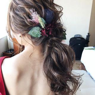 大人女子 アンニュイ パーティ セミロング ヘアスタイルや髪型の写真・画像