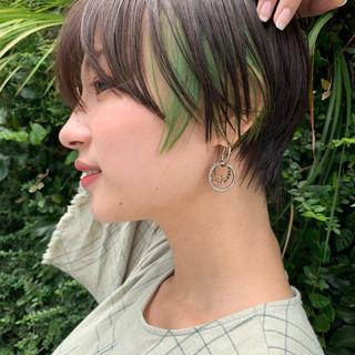ショート デザインカラー 似合わせカット ハンサムショート ヘアスタイルや髪型の写真・画像