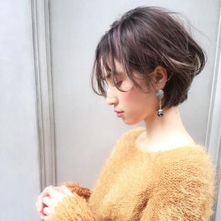 前髪あり 透明感 ナチュラル ショート ヘアスタイルや髪型の写真・画像
