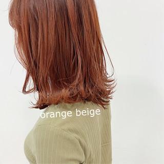 ナチュラル ブラットオレンジ ミディアム オレンジ ヘアスタイルや髪型の写真・画像