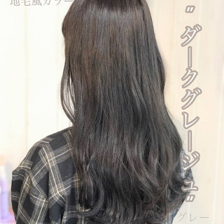 ミディアム グレージュ ネイビーブルー ナチュラル ヘアスタイルや髪型の写真・画像