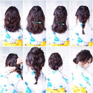 ナチュラル ミディアム 抜け感 セルフヘアアレンジ ヘアスタイルや髪型の写真・画像