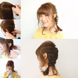 ナチュラル デート セルフヘアアレンジ ミディアム ヘアスタイルや髪型の写真・画像