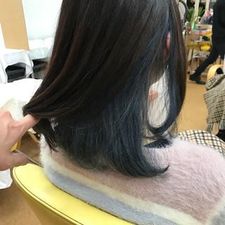 ワンカール モード ボブ インナーカラー ヘアスタイルや髪型の写真・画像