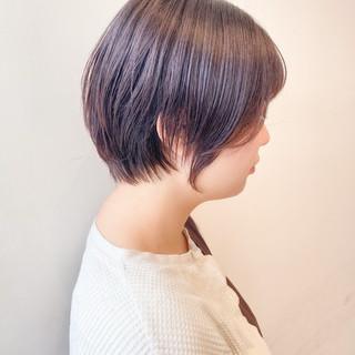 ショート ピンクラベンダー 透明感カラー ナチュラル ヘアスタイルや髪型の写真・画像
