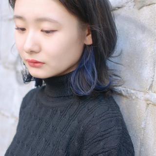 アッシュグレージュ グレージュ インナーカラー ストリート ヘアスタイルや髪型の写真・画像