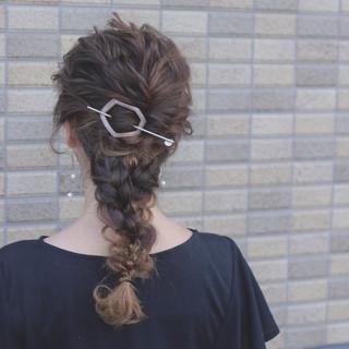 ヘアアレンジ ゆるふわ グラデーションカラー セミロング ヘアスタイルや髪型の写真・画像