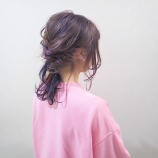 バイオレットアッシュ ゆるふわ セミロング ガーリー ヘアスタイルや髪型の写真・画像