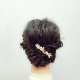 ショート モテ髪 簡単ヘアアレンジ 編み込み ヘアスタイルや髪型の写真・画像