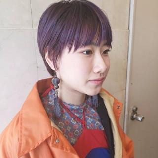 パープルカラー N.オイル ストリート ショート ヘアスタイルや髪型の写真・画像