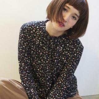 ショートバング ショートボブ ボブ 外国人風 ヘアスタイルや髪型の写真・画像