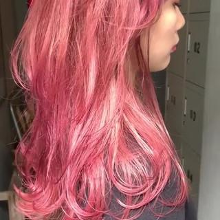 ピンクラベンダー ロング ストリート ピンク ヘアスタイルや髪型の写真・画像