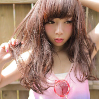 大人かわいい ロング ピンク ゆるふわ ヘアスタイルや髪型の写真・画像