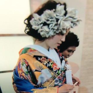 振袖 和服 和装 セミロング ヘアスタイルや髪型の写真・画像