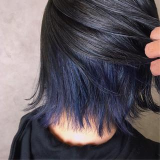 切りっぱなし 抜け感 インナーカラー 透明感 ヘアスタイルや髪型の写真・画像