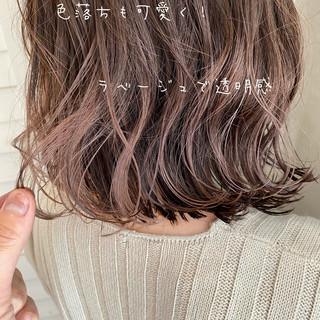 ラベージュ ピンクベージュ ピンクアッシュ ボブ ヘアスタイルや髪型の写真・画像