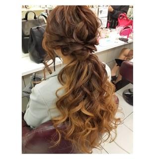 ヘアアレンジ デート ロング フェミニン ヘアスタイルや髪型の写真・画像