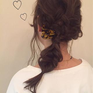 簡単ヘアアレンジ ヘアアレンジ ハイライト セミロング ヘアスタイルや髪型の写真・画像