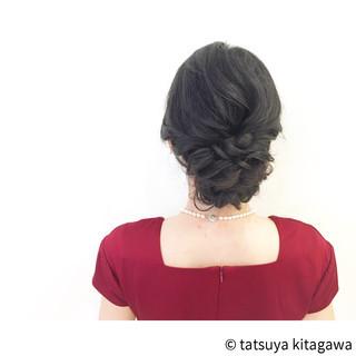 結婚式 黒髪 ミディアム ゆるふわ ヘアスタイルや髪型の写真・画像