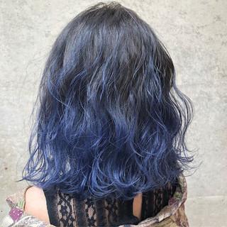 ブルー ストリート 外国人風カラー ネイビー ヘアスタイルや髪型の写真・画像