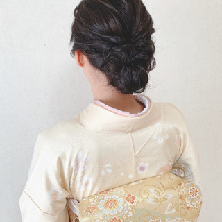 着物 エレガント アップスタイル お呼ばれ ヘアスタイルや髪型の写真・画像
