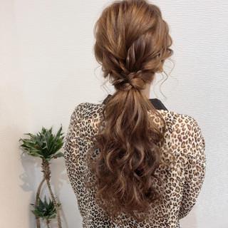 フェミニン ポニーテールアレンジ ロング ヘアセット ヘアスタイルや髪型の写真・画像