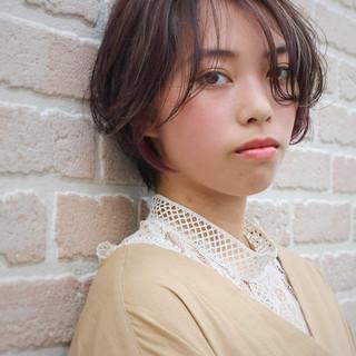 オシャレ ハンサムショート インナーカラー ボブ ヘアスタイルや髪型の写真・画像