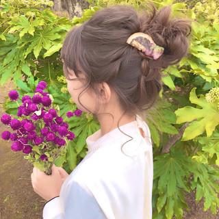 ミディアム ヘアアレンジ 結婚式ヘアアレンジ フェミニン ヘアスタイルや髪型の写真・画像 ヘアスタイルや髪型の写真・画像