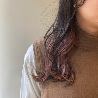 ピンク ピンクブラウン ナチュラル ロング ヘアスタイルや髪型の写真・画像
