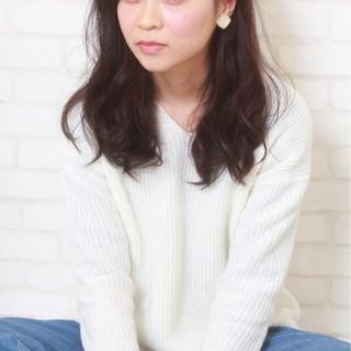 暗髪 簡単 セミロング 外国人風 ヘアスタイルや髪型の写真・画像