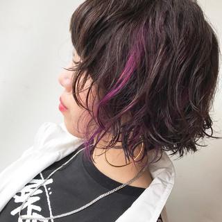 ハイライト ショート インナーカラー ピンク ヘアスタイルや髪型の写真・画像 ヘアスタイルや髪型の写真・画像