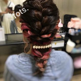 編みおろし お呼ばれヘア ガーリー ヘアアレンジ ヘアスタイルや髪型の写真・画像