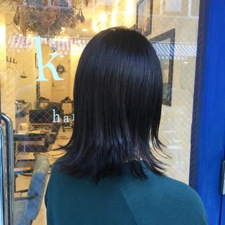外国人風カラー ナチュラル アッシュ ミディアム ヘアスタイルや髪型の写真・画像