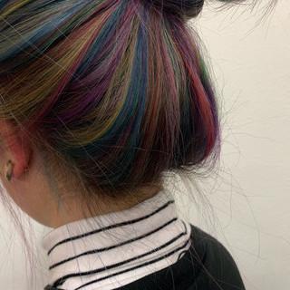 パステルカラー ハイトーンカラー デザインカラー ユニコーンカラー ヘアスタイルや髪型の写真・画像