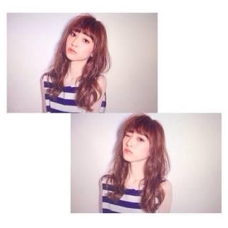 セミロング ウェーブ パンク 春 ヘアスタイルや髪型の写真・画像