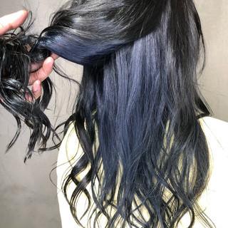 ロング インナーカラー 外国人風カラー ネイビー ヘアスタイルや髪型の写真・画像 ヘアスタイルや髪型の写真・画像