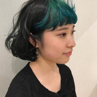 ブルー モード 黒髪 ボブ ヘアスタイルや髪型の写真・画像