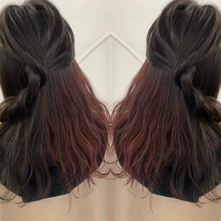 イルミナカラー バックコーミング バレイヤージュ インナーカラー ヘアスタイルや髪型の写真・画像