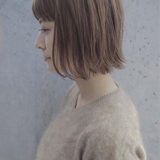 ハイライト ボブ ナチュラル ストレート ヘアスタイルや髪型の写真・画像