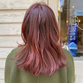 透明感カラー 切りっぱなしボブ アプリコットオレンジ オレンジ ヘアスタイルや髪型の写真・画像
