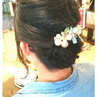 黒髪 セミロング パーティ ヘアアレンジ ヘアスタイルや髪型の写真・画像