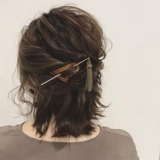 ミディアム 秋 結婚式 透明感 ヘアスタイルや髪型の写真・画像