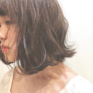 くせ毛風 ナチュラル ハイライト ボブ ヘアスタイルや髪型の写真・画像