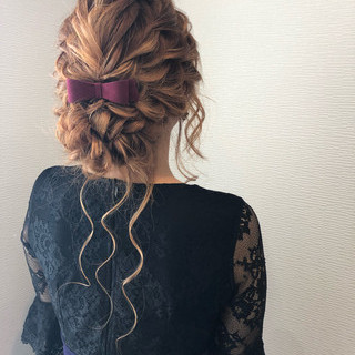 アップ ねじり 結婚式 ヘアアレンジ ヘアスタイルや髪型の写真・画像