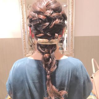 結婚式 編み込み ヘアアレンジ 三つ編み ヘアスタイルや髪型の写真・画像