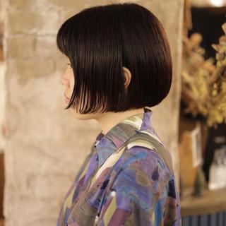 ショートボブ まとまるボブ ボブ 切りっぱなしボブ ヘアスタイルや髪型の写真・画像