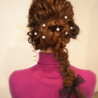 ナチュラル ゆるふわ 三つ編み 大人かわいい ヘアスタイルや髪型の写真・画像