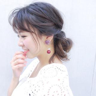 セミロング 涼しげ ヘアアレンジ 簡単ヘアアレンジ ヘアスタイルや髪型の写真・画像