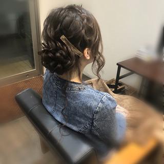 編み込みヘア ヘアセット ヘアアレンジ ロング ヘアスタイルや髪型の写真・画像