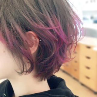ピンク パープル グラデーションカラー ダブルカラー ヘアスタイルや髪型の写真・画像